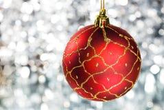 год красного цвета s абстрактного шарика предпосылки новый серебристый Стоковое Фото