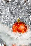 год красного цвета s абстрактного шарика предпосылки новый серебристый Стоковое фото RF