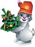 год кролика s ели новый бесплатная иллюстрация
