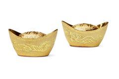 год орнаментов китайского золотого ингота новый Стоковая Фотография