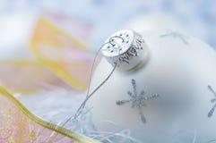 год рождества шарика новый серебряный Стоковые Изображения RF