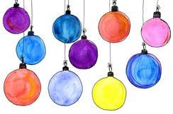 год рождества 2007 шариков акварель, изолят Стоковые Изображения RF