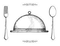 Год сбора винограда изолированный столовым прибором установленные объектами вилка и ложка поднос-плиты бесплатная иллюстрация
