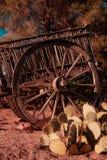 Год сбора винограда каравана колеса телеги Дикого Запада ретро стоковое изображение