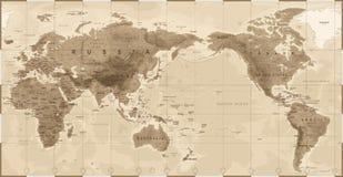 Год сбора винограда карты мира физический - Азия в центре - Китай, Корея, Япония бесплатная иллюстрация