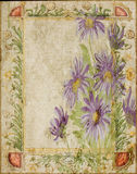 Год сбора винограда - рамка предпосылки Scrapbook коллажа цветка Стоковое Фото