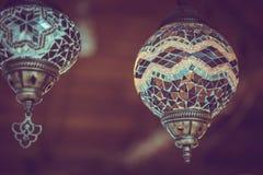 Год сбора винограда украшает турецкий свет лампы стоковое фото rf
