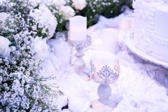 Год сбора винограда украшения на романтичный день свадьбы Стоковая Фотография