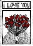 Год сбора винограда rastered иллюстрация человека держа красные цветки и говоря я тебя люблю Стоковая Фотография RF