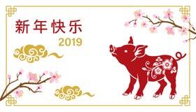 2019, год свиньи, китайский дизайн поздравительной открытки ` s Нового Года иллюстрация штока