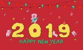год 2019 свиньи бесплатная иллюстрация