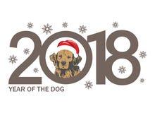 Год собаки 2018 дизайн ` s Нового Года шаблона на китайском календаре Стоковая Фотография RF