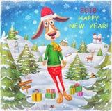 Год собаки Счастливая карточка 2018 Нового Года Стоковые Фотографии RF