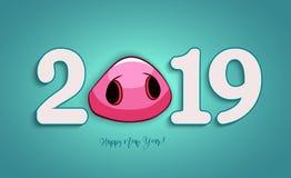 2019 год Счастливые поздравительная открытка Нового Года или invita рождества стоковая фотография rf