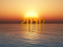год 2010 захода солнца Стоковое фото RF