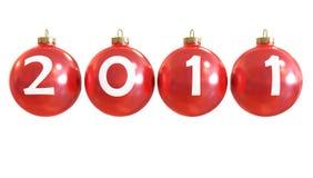 год 2011 chirstmass шарика классицистический новый красный глянцеватый Иллюстрация вектора