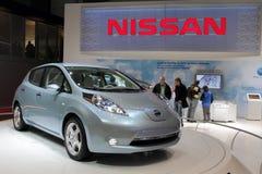 год 2011 nissan листьев автомобиля Стоковое Фото