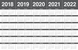 Год 2018 2019 2020 2021 2022 calendar вектор Стоковые Фото