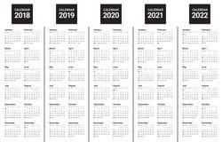 Год 2018 2019 2020 2021 2022 calendar вектор Стоковая Фотография
