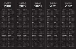 Год 2018 2019 2020 2021 2022 calendar вектор Стоковое Фото