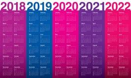 Год 2018 2019 2020 2021 2022 calendar вектор Стоковое Изображение RF