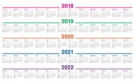 Год 2018 2019 2020 2021 2022 calendar вектор Стоковое Изображение
