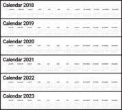 Год 2018 2019 2020 2021 2022 2023 calendar вектор Стоковое Изображение RF