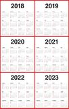 Год 2018 2019 2020 2021 2022 2023 calendar вектор Стоковая Фотография