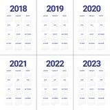 Год 2018 2019 2020 2021 2022 2023 calendar вектор Стоковые Фотографии RF