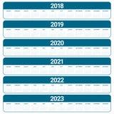 Год 2018 2019 2020 2021 2022 2023 calendar вектор Стоковое Фото
