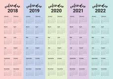 Год 2018 2019 2020 2021 2022 calendar вектор Стоковые Изображения RF