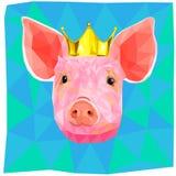 Год ilustration свиньи земли низкого поли Иллюстрация вектора