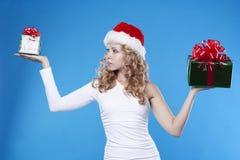 год santa девушки подарка новый присутствующий Стоковые Изображения RF