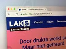 Голландский вебсайт examenklacht nl, от национальных зрачков школы комитета действия - LAKS Стоковое Изображение