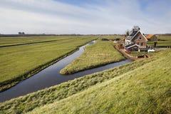 Голландский ландшафт польдера с фермой и некоторыми домами Стоковые Изображения