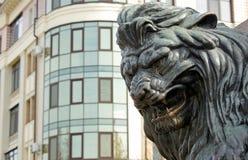Голова бронзового льва бронзовая скульптура льва реветь на памятнике в Полтаве, Украине стоковые фото