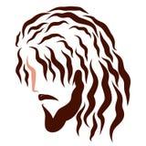 Голова Иисуса, профиль, темные волнистые волосы, эскиз бесплатная иллюстрация