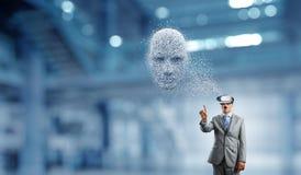 Голова, искусственный интеллект и виртуальная реальность цифров Мультимедиа стоковая фотография