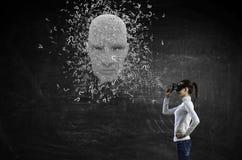Голова, искусственный интеллект и виртуальная реальность цифров Мультимедиа стоковые изображения rf
