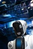 Голова и часть тела робота с дисплеем стоковые фотографии rf