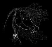 Голова лошадей с пушистой гривой покрасила грациозно линии с бесплатная иллюстрация