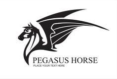 Голова лошади Пегаса, в черно-белом иллюстрация вектора