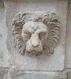 Голова льва на строя стене в Львове стоковое фото rf