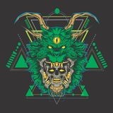 Голова черепа зеленого дракона иллюстрация вектора