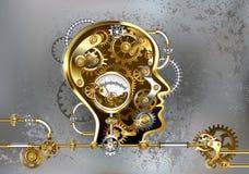 Голова Steampunk с манометром на серой предпосылке иллюстрация вектора