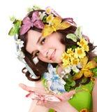 головка девушки цветка бабочки Стоковое Изображение