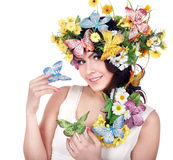 головка девушки цветка бабочки Стоковая Фотография RF