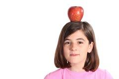 головка девушки яблока немногая Стоковые Изображения