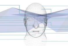 головка кибернетики абстрактной предпосылки голубая Стоковое Фото
