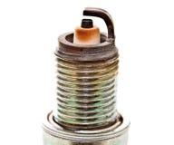 Головка крупного плана используемой свечи зажигания Стоковое фото RF
